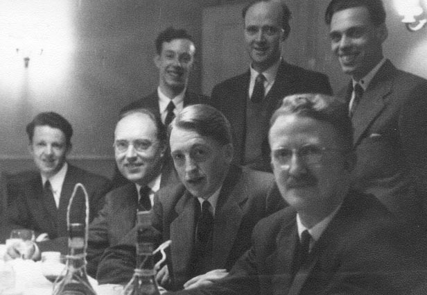 Thomas A. (Tom) Cook, Dr.G.Evans, Robert B. (Bob)   Galloway. Seated - Ian I.Fairweather, Dr.Richard (Dick) Sillitto, Archibald (Archie)   Howie, Dr.lan Hughes.