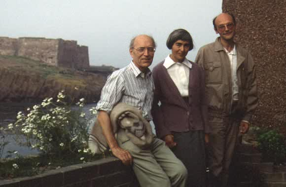 Dick, Vlasta and Antonin outside the Sillittos' flat in Dunbar, 1991